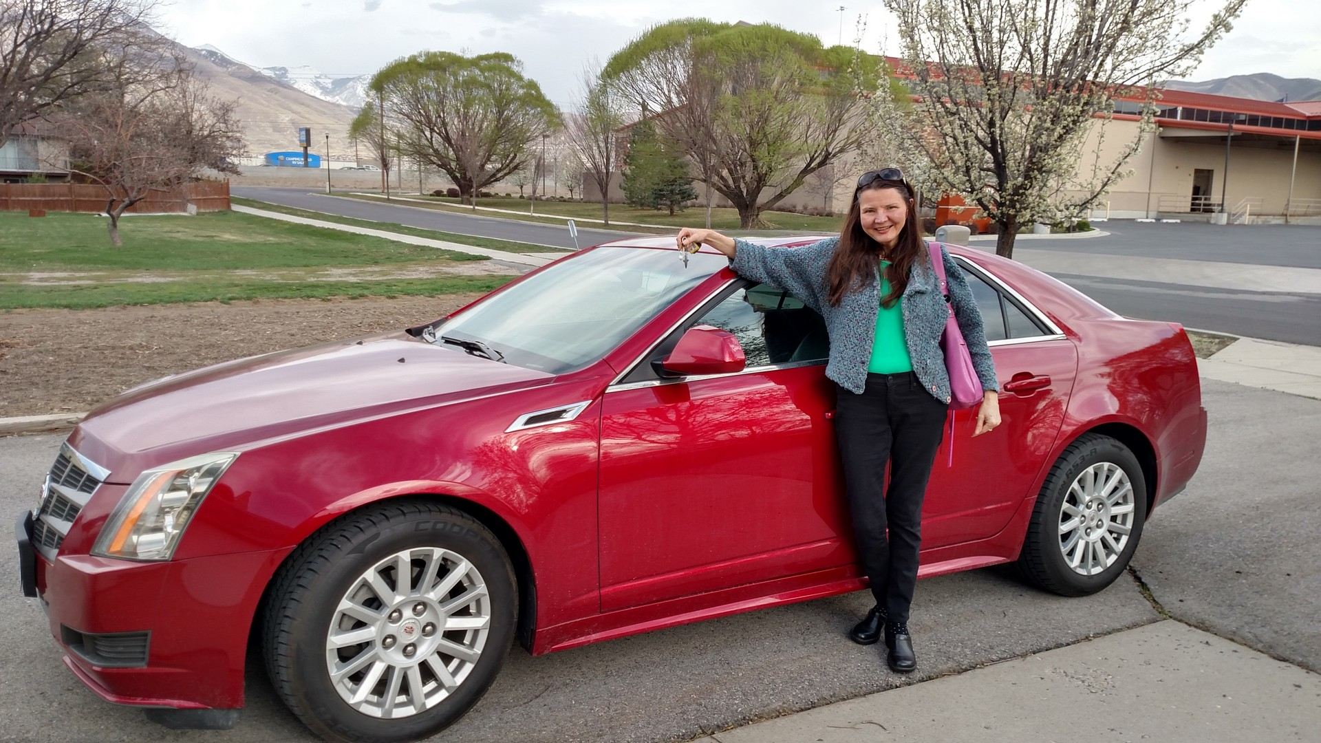 KaeLyn Celebrating Accomplishments with her Cadillac CTS